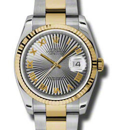 116233 steel grey sunbeam Roman dial Oyster Rolex Datejust 36