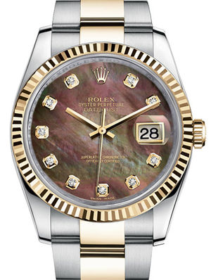 116233 Black mother of pearl diamond Oyster Rolex Datejust 36
