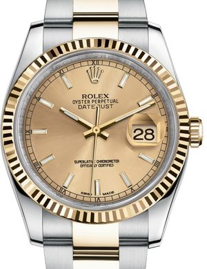 116233 champagne index dial Oyster Rolex Datejust 36