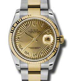 Rolex Datejust 36 116233 champagne sunbeam Roman dial Oyster