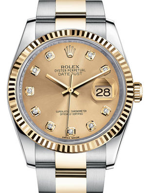 Rolex Datejust 36 116233 champagne diamond dial Oyster