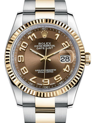 116233 brown Arabic numerals dial Oyster Rolex Datejust 36