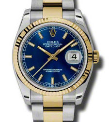 116233 blue index dial Oyster Rolex Datejust 36