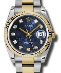 Rolex Datejust 36 116233 blue jubilee diamond dial Oyster