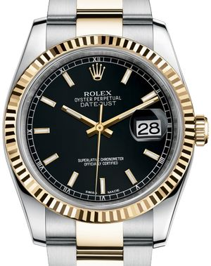 Rolex Datejust 36 116233 black index dial Oyster
