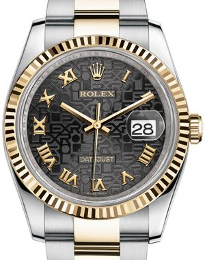 116233 black Jubilee Roman numerals dial Oyster Rolex Datejust 36