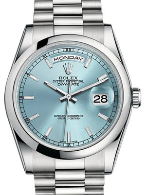 118206 Ice blue index dial Rolex Day-Date 36