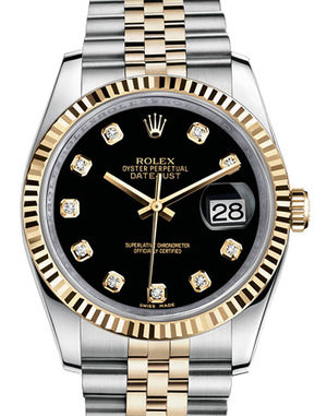 Rolex Datejust 36 116233 black diamond dial Jubilee
