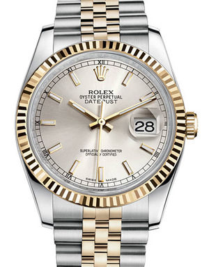Rolex Datejust 36 116233 silver index dial Jubilee