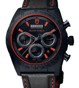42000CR Leather strap Tudor Fastrider Black Shield