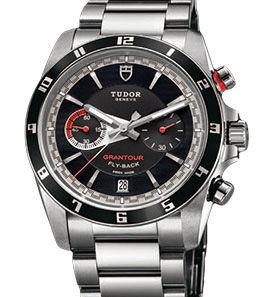 20550N black dial steel bracelet Tudor Grantour