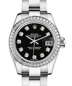 Rolex Lady-Datejust 26 179384 black set whith diamonds dial Oyster