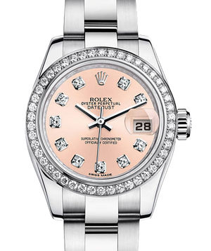 Rolex Lady-Datejust 26 179384 pink set whith diamonds dial Oyster