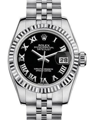 Rolex Lady-Datejust 26 179174 black Roman dial Jublilee