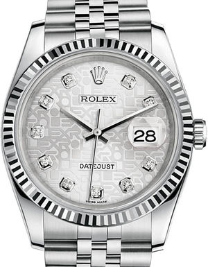 Rolex Datejust 36 116234 Silver Jubilee design diamonds Jubilee Brac
