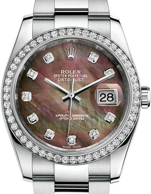 Rolex Datejust 36 116244 Black mother-of-pearl diamonds Oyster