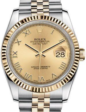 Rolex Datejust 36 116233 Champagne Roman numerals