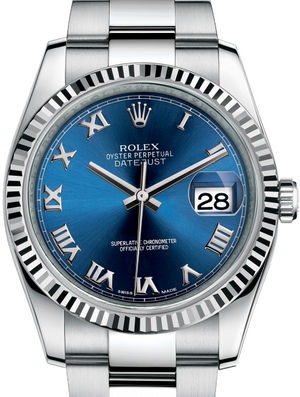 116234 Blue Roman Oyster Bracelet Rolex Datejust 36