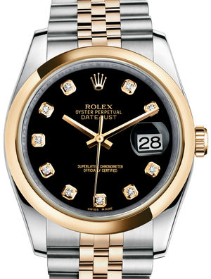 Rolex Datejust 36 116203 Black set with diamonds Jubilee Bracelet