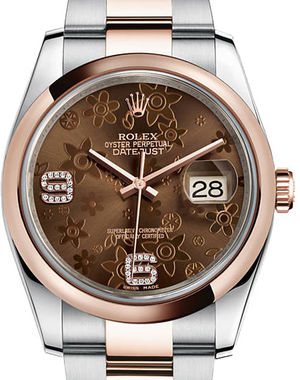 116201 Chocolate floral motif set with diamonds Rolex Datejust 36