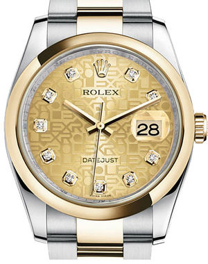 116203 Champagne Jubilee design diamonds Oyster Rolex Datejust 36