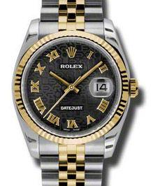 116233 black Jubilee Roman numerals dial Jubilee Rolex Datejust 36