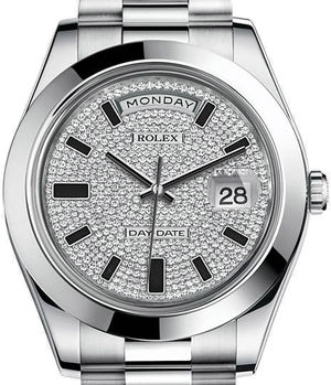 Rolex Day-Date II Archive 218206 diamond paved dial