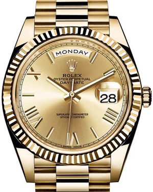228238 champagne bevelled deconstructed Roman Rolex Day-Date 40