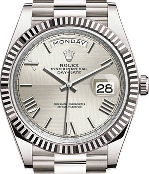 228239 Silver quadrant motif Rolex Day-Date 40