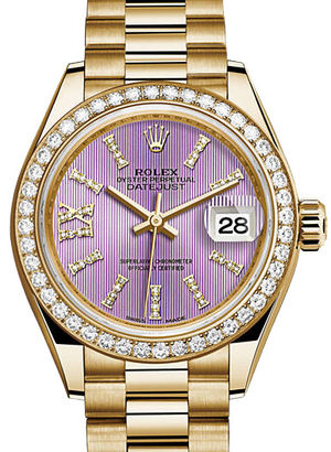 279138RBR Lilac set with diamonds Rolex Lady-Datejust 28