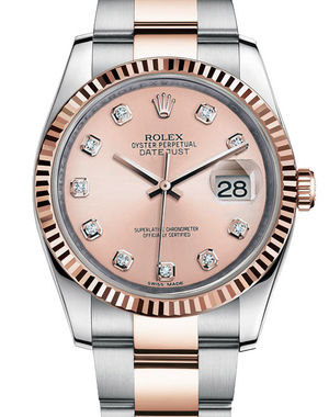 116231 pink diamond dial Oyster Rolex Datejust 36