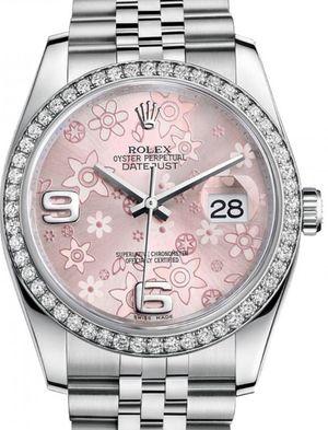 Rolex Datejust 36 116244 Pink floral motif Jubilee Bracelet