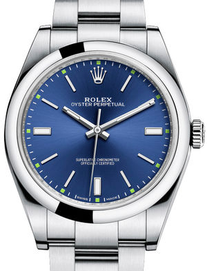 114300 Blue dial Rolex Oyster Perpetual