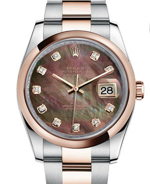 116201 Black mother-of-pearl set with diamonds Rolex Datejust 36