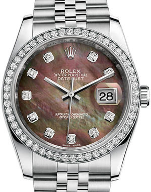 116244 dark mother of pearl diamond dial Jubilee Rolex Datejust 36