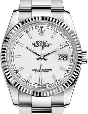 Rolex Datejust 36 116234 White index Oyster Bracelet