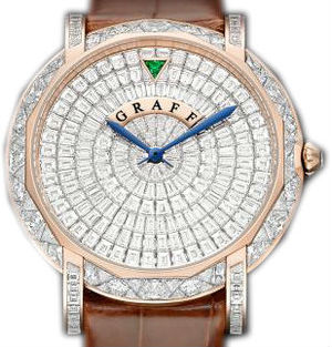 GraffStar Slim 43mm Full Diamonds&Rose Gold Graff Star Collection