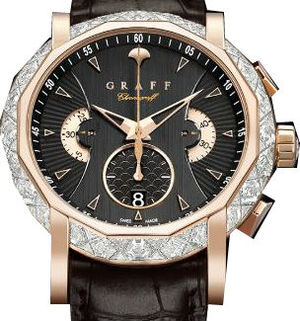 Diamond&Rose Gold With Black Dial Graff Chrono Collection