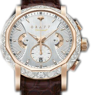 Diamond&Rose Gold With White Dial Graff Chrono Collection