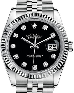Rolex Datejust 36 116234 Black set with diamonds Jubilee Bracelet