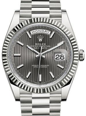228239 Dark rhodium stripe motif dial Rolex Day-Date 40
