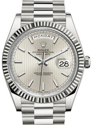 228239 silver stripe motif dial Rolex Day-Date 40