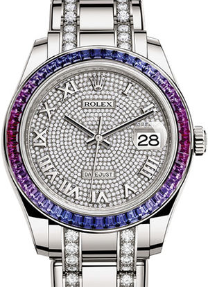 86349SAFUBL paved with 455 diamonds Rolex Pearlmaster
