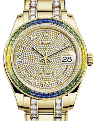 86348SABLV paved with 455 diamonds Rolex Pearlmaster