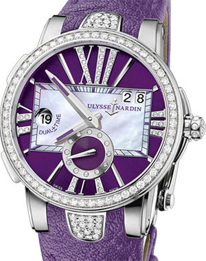 243-10B/30-07 Leather strap in purple Ulysse Nardin Executive Dual Time Lady