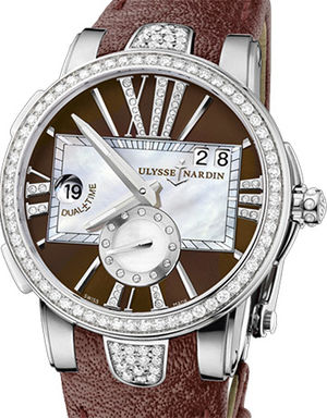 243-10B/30-05 Leather strap in mahogany Ulysse Nardin Executive Dual Time Lady