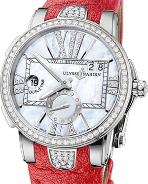 243-10B/391 Leather strap in red Ulysse Nardin Executive Dual Time Lady