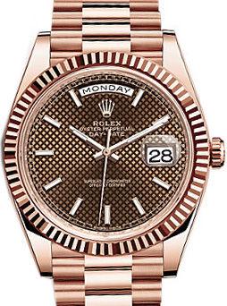 228235 Chocolate diagonal motif Rolex Day-Date 40