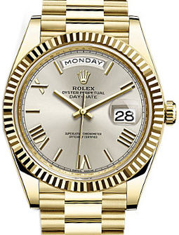 228238 silver bevelled deconstructed Roman Rolex Day-Date 40
