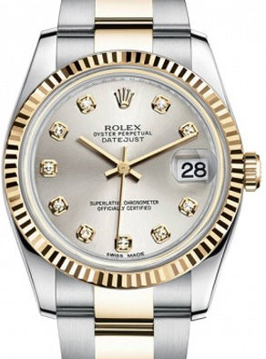Rolex Datejust 36 116233 silver diamond dial Oyster